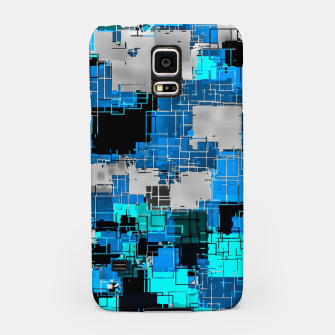 Miniatur geometric square pixel pattern abstract background in blue Samsung Case, Live Heroes