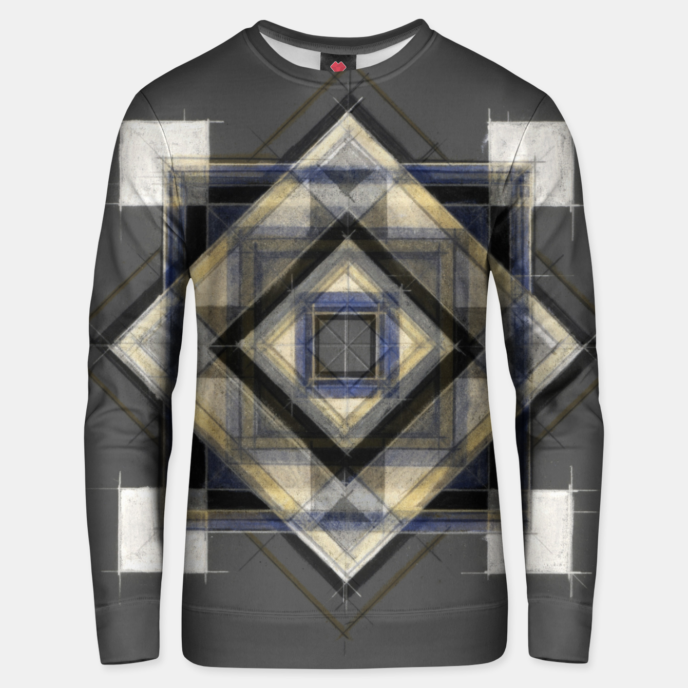 Image of Hand Made Edited Pencil Geometry in Grey Unisex sweater - Live Heroes