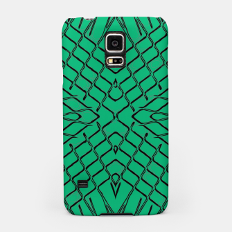 Miniatur geometric symmetry line pattern abstract in green Samsung Case, Live Heroes