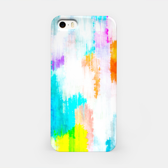 Miniature de image de colorful splash painting texture abstract background in yellow blue pink orange iPhone Case, Live Heroes