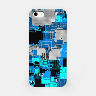 Imagen en miniatura de geometric square pixel pattern abstract background in blue iPhone Case, Live Heroes