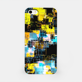 geometric square pixel pattern abstract background in orange yellow blue iPhone Case thumbnail image