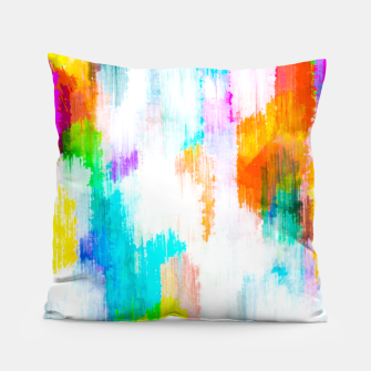 colorful splash painting texture abstract background in yellow blue pink orange Pillow thumbnail image