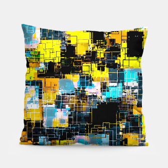 geometric square pixel pattern abstract background in orange yellow blue Pillow thumbnail image