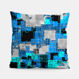 geometric square pixel pattern abstract background in blue Pillow thumbnail image