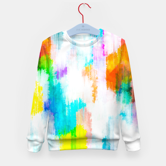 colorful splash painting texture abstract background in yellow blue pink orange Kid's sweater thumbnail image