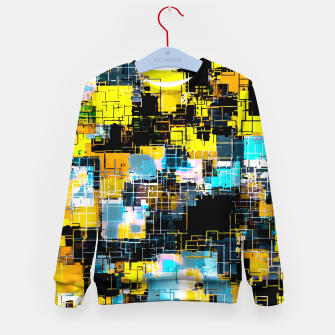 geometric square pixel pattern abstract background in orange yellow blue Kid's sweater thumbnail image