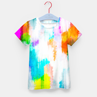 colorful splash painting texture abstract background in yellow blue pink orange Kid's t-shirt thumbnail image