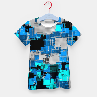 geometric square pixel pattern abstract background in blue Kid's t-shirt thumbnail image