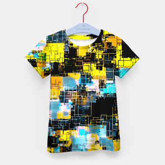 geometric square pixel pattern abstract background in orange yellow blue Kid's t-shirt thumbnail image