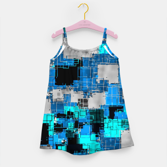 Miniature de image de geometric square pixel pattern abstract background in blue Girl's dress, Live Heroes