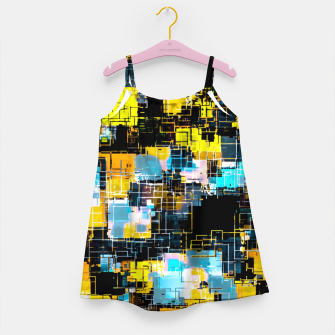 geometric square pixel pattern abstract background in orange yellow blue Girl's dress thumbnail image