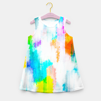 Thumbnail image of colorful splash painting texture abstract background in yellow blue pink orange Girl's summer dress, Live Heroes