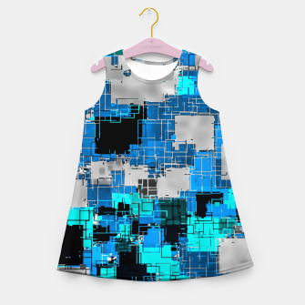 Thumbnail image of geometric square pixel pattern abstract background in blue Girl's summer dress, Live Heroes
