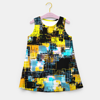 geometric square pixel pattern abstract background in orange yellow blue Girl's summer dress thumbnail image