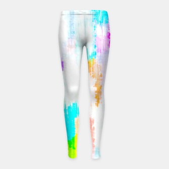 Thumbnail image of colorful splash painting texture abstract background in yellow blue pink orange Girl's leggings, Live Heroes