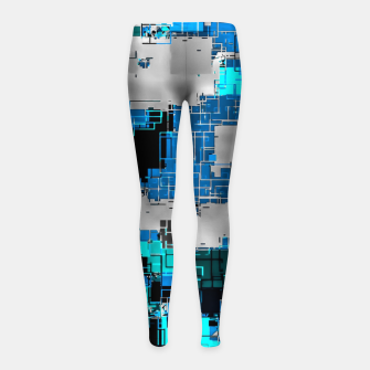 geometric square pixel pattern abstract background in blue Girl's leggings thumbnail image
