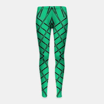 Thumbnail image of geometric symmetry line pattern abstract in green Girl's leggings, Live Heroes