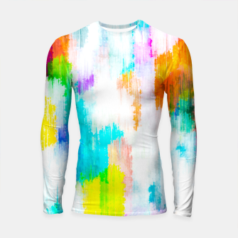 Thumbnail image of colorful splash painting texture abstract background in yellow blue pink orange Longsleeve rashguard , Live Heroes