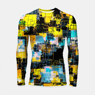 geometric square pixel pattern abstract background in orange yellow blue Longsleeve rashguard  thumbnail image