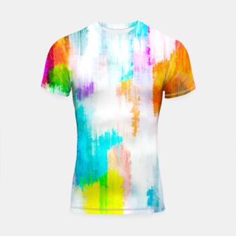 colorful splash painting texture abstract background in yellow blue pink orange Shortsleeve rashguard thumbnail image