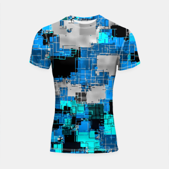 Imagen en miniatura de geometric square pixel pattern abstract background in blue Shortsleeve rashguard, Live Heroes