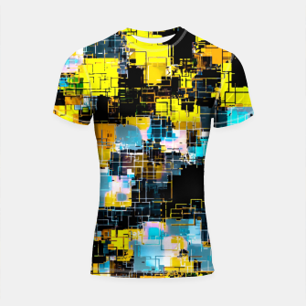 geometric square pixel pattern abstract background in orange yellow blue Shortsleeve rashguard thumbnail image
