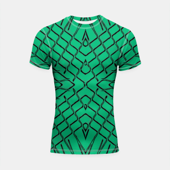 Imagen en miniatura de geometric symmetry line pattern abstract in green Shortsleeve rashguard, Live Heroes