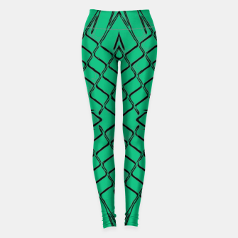 Miniaturka geometric symmetry line pattern abstract in green Leggings, Live Heroes