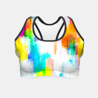 colorful splash painting texture abstract background in yellow blue pink orange Crop Top thumbnail image