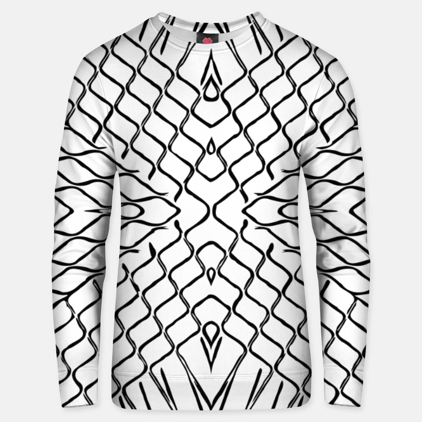 Image of geometric symmetry line pattern abstract in black and white Unisex sweater - Live Heroes