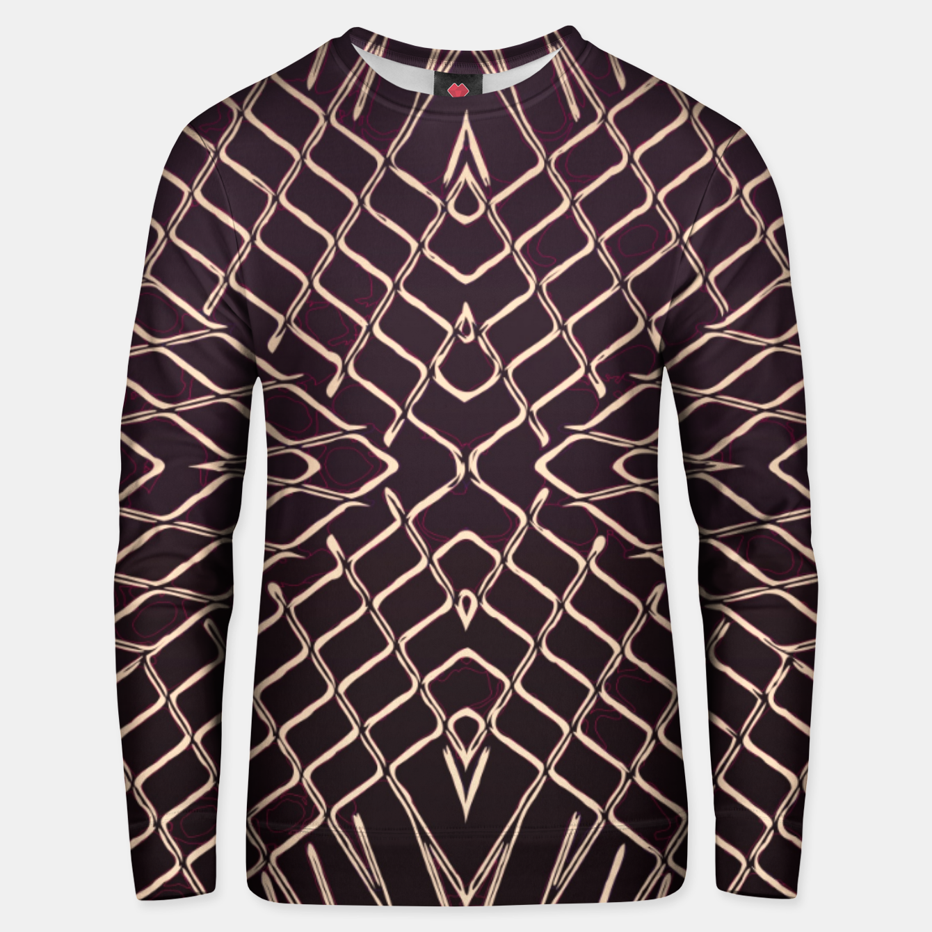 Image of geometric symmetry line pattern abstract in brown Unisex sweater - Live Heroes
