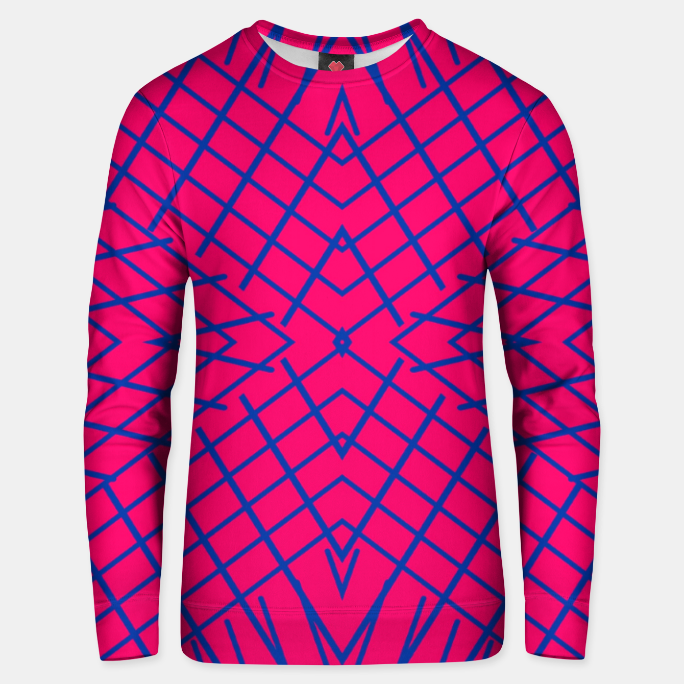 Image of geometric symmetry line pattern abstract in pink and blue Unisex sweater - Live Heroes