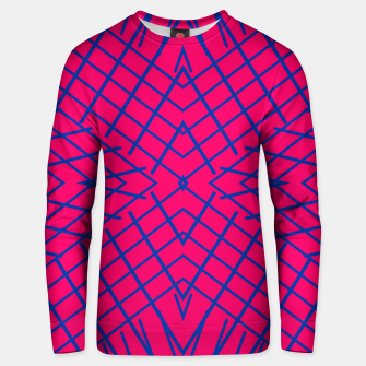 geometric symmetry line pattern abstract in pink and blue Unisex sweater thumbnail image