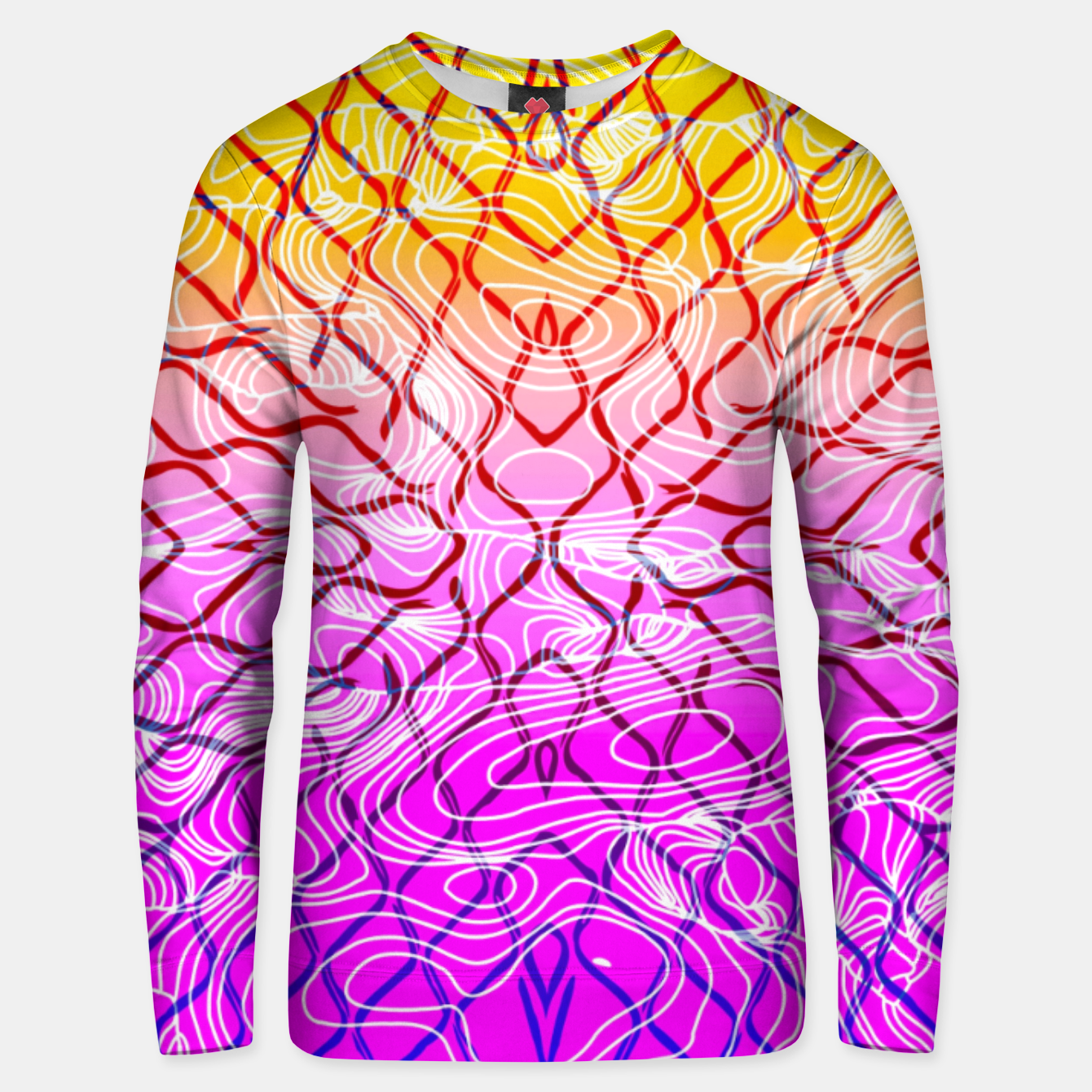 Image of geometric symmetry line pattern abstract in purple pink orange yellow Unisex sweater - Live Heroes