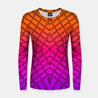 geometric symmetry line pattern abstract in orange purple pink Women sweater thumbnail image