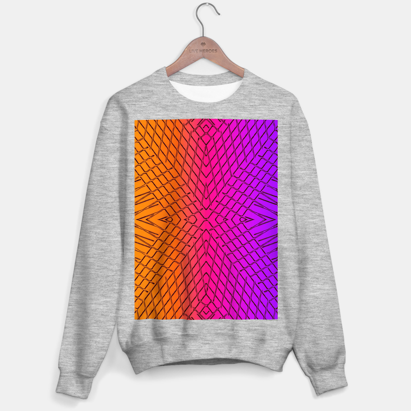 Image of geometric symmetry line pattern abstract in orange purple pink Sweater regular - Live Heroes
