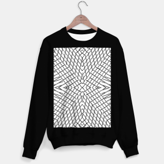 Thumbnail image of geometric symmetry line pattern abstract in black and white Sweater regular, Live Heroes