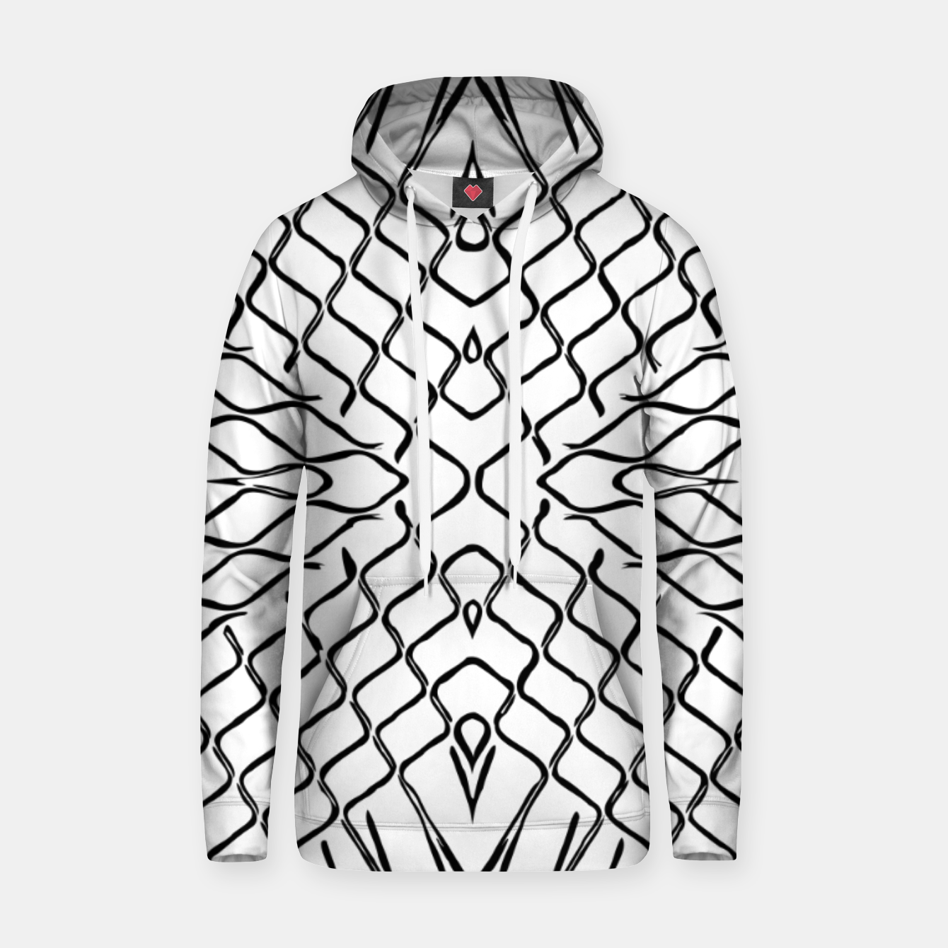 Image of geometric symmetry line pattern abstract in black and white Hoodie - Live Heroes
