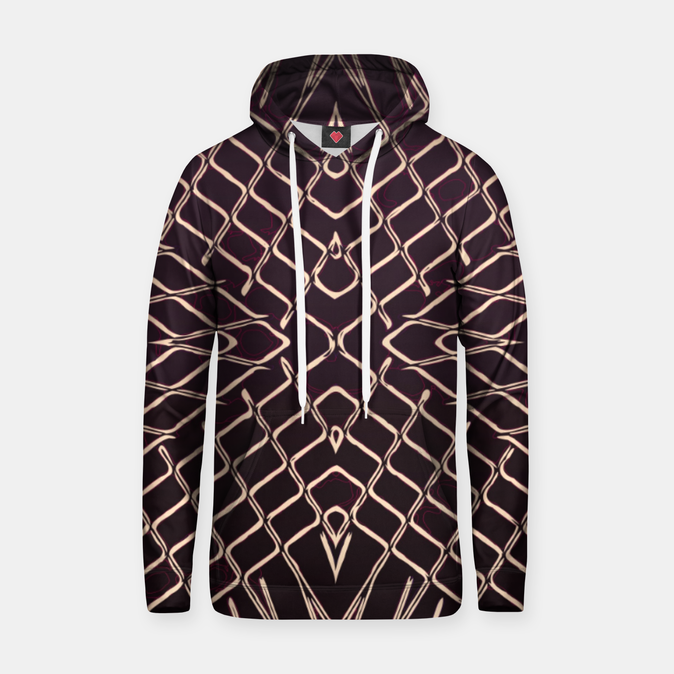 Image of geometric symmetry line pattern abstract in brown Hoodie - Live Heroes