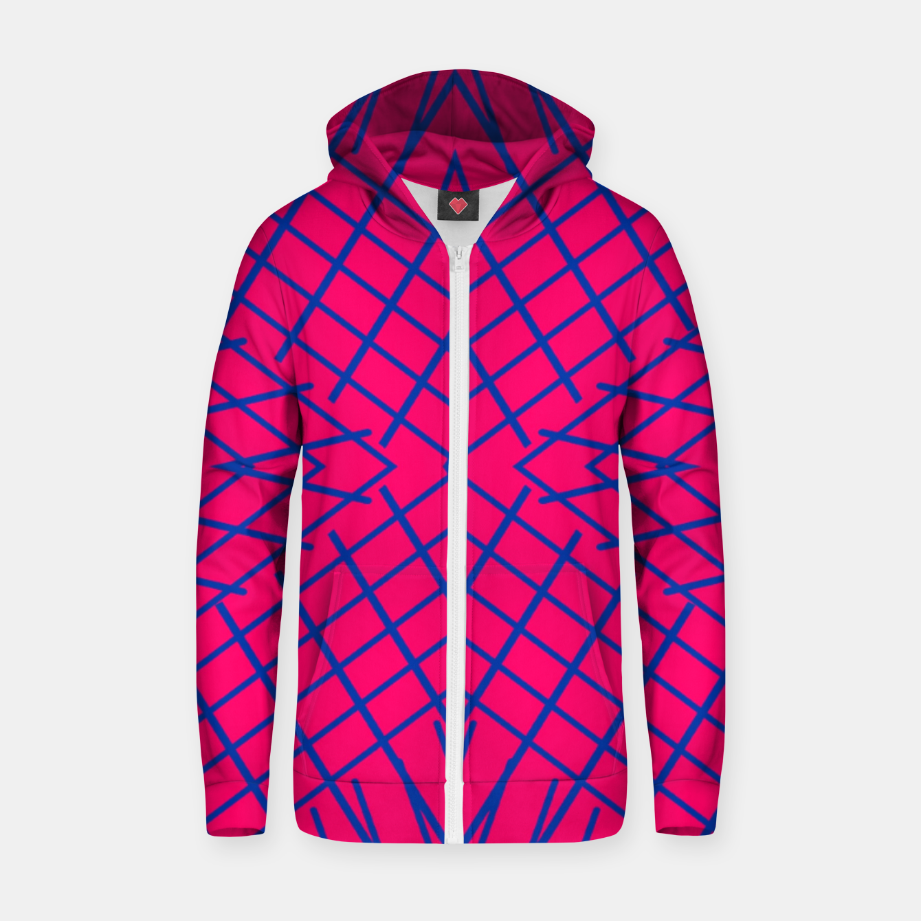 Image of geometric symmetry line pattern abstract in pink and blue Zip up hoodie - Live Heroes