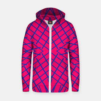 geometric symmetry line pattern abstract in pink and blue Zip up hoodie thumbnail image