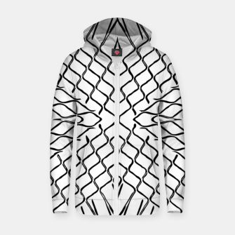 geometric symmetry line pattern abstract in black and white Zip up hoodie thumbnail image