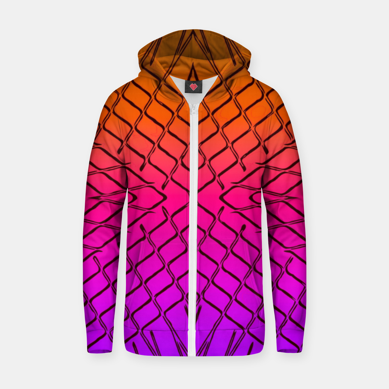 Image of geometric symmetry line pattern abstract in orange purple pink Zip up hoodie - Live Heroes