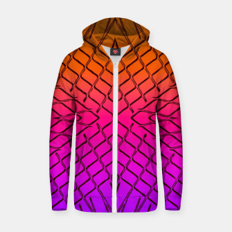 geometric symmetry line pattern abstract in orange purple pink Zip up hoodie thumbnail image
