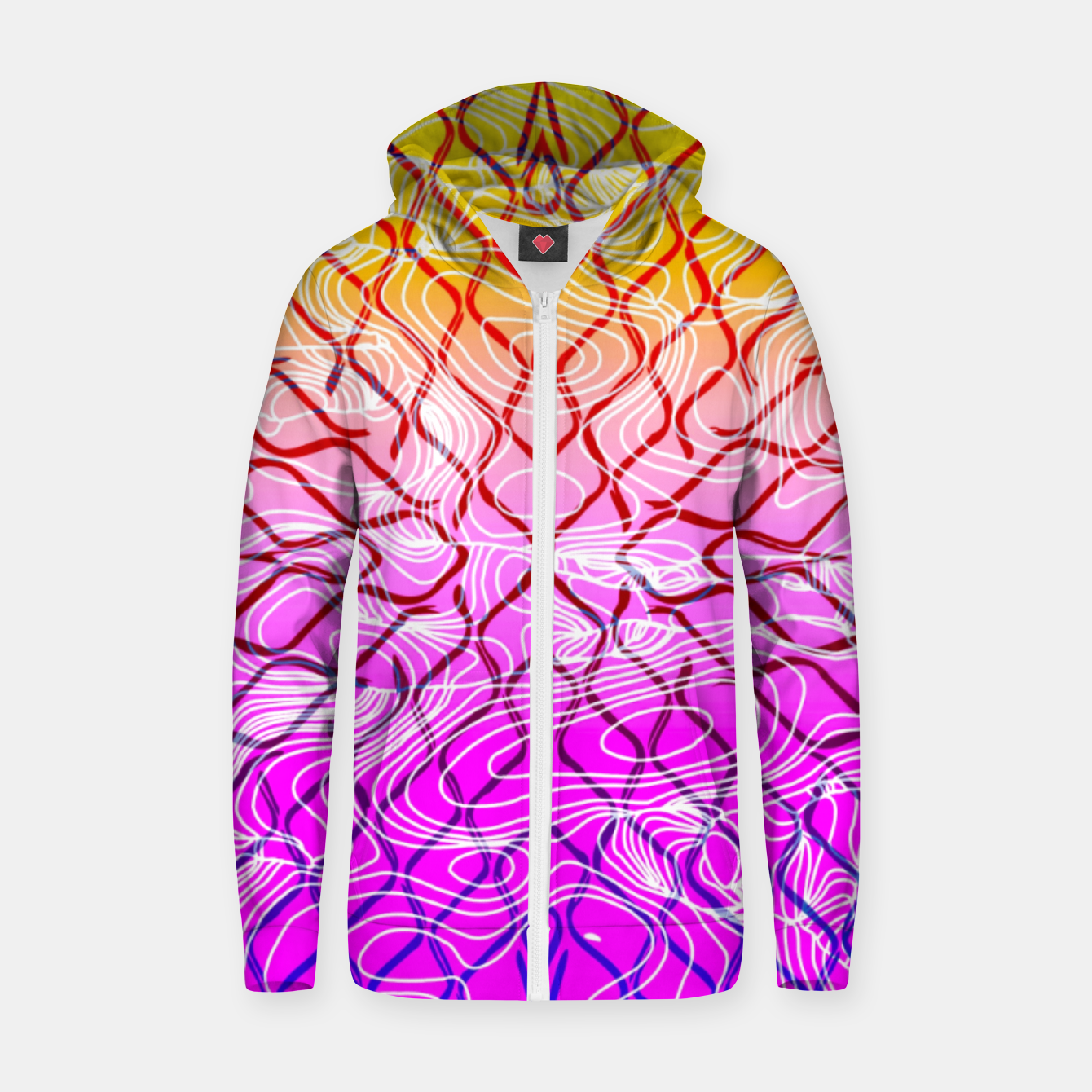 Image of geometric symmetry line pattern abstract in purple pink orange yellow Zip up hoodie - Live Heroes