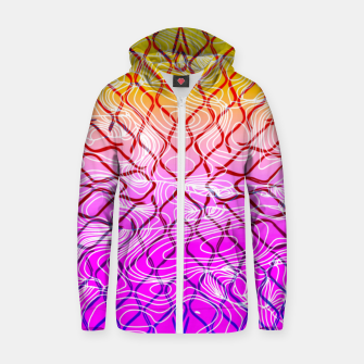 geometric symmetry line pattern abstract in purple pink orange yellow Zip up hoodie thumbnail image