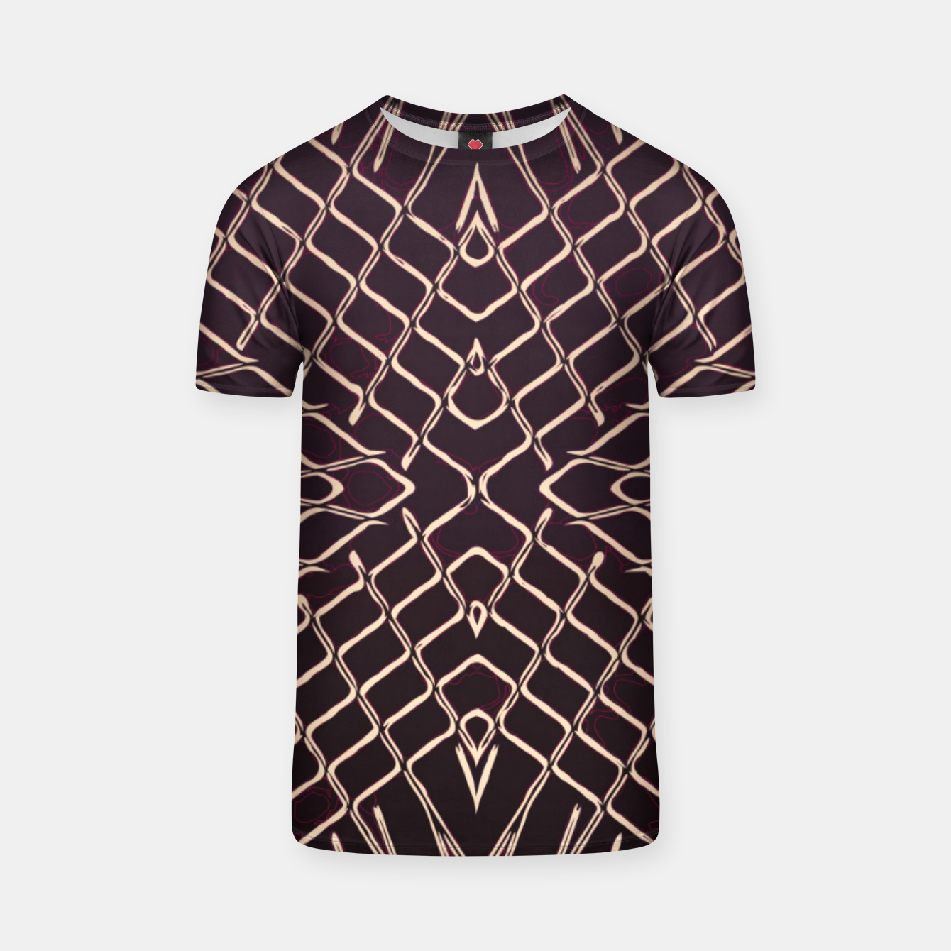 Image of geometric symmetry line pattern abstract in brown T-shirt - Live Heroes