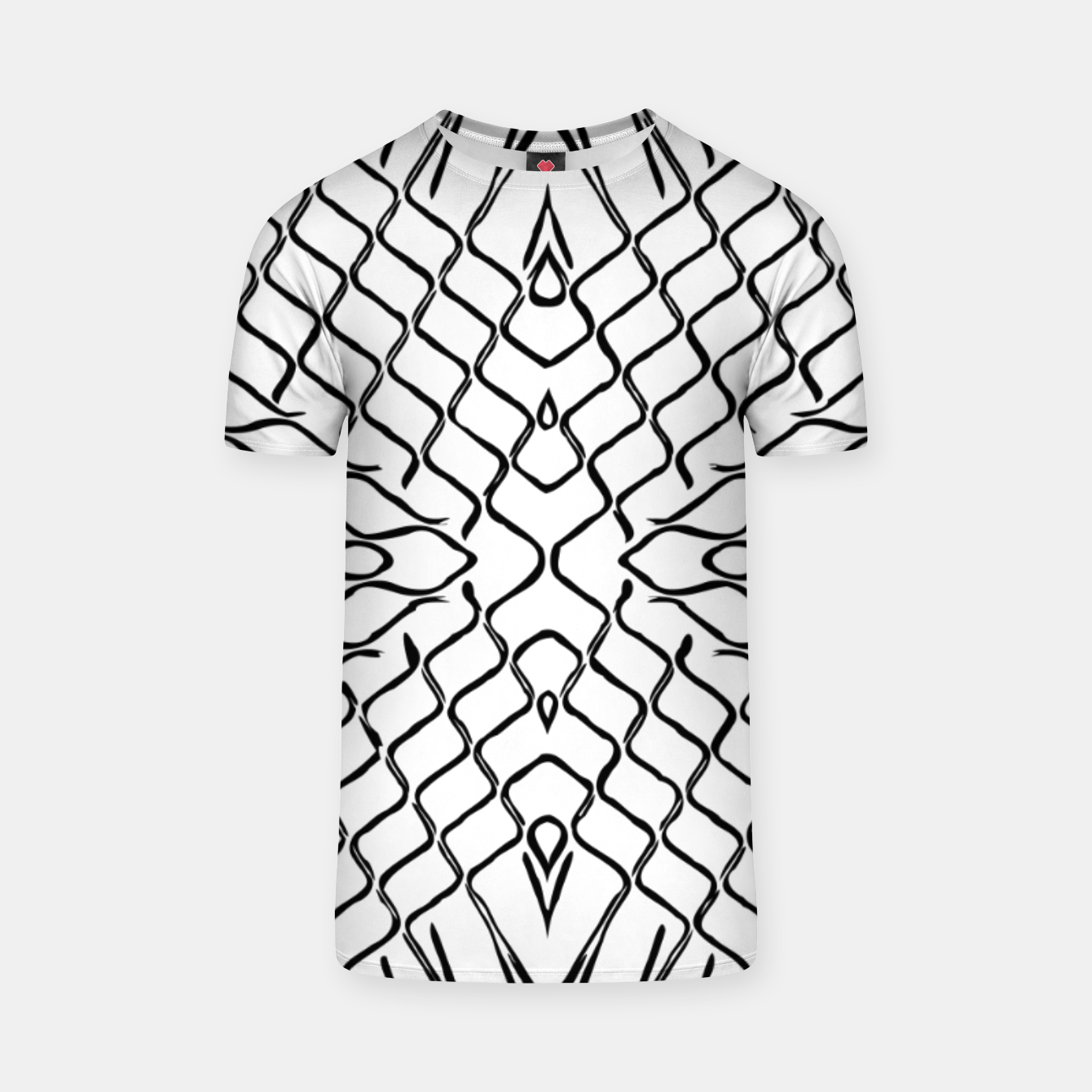 Image of geometric symmetry line pattern abstract in black and white T-shirt - Live Heroes