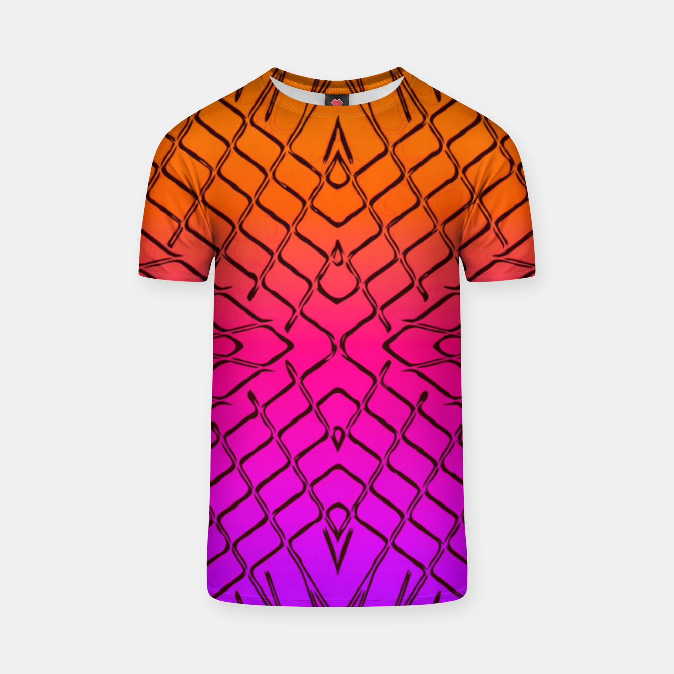 Image of geometric symmetry line pattern abstract in orange purple pink T-shirt - Live Heroes